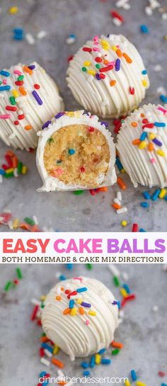 Cake Balls (Cake Truffles) are the PERFECT dessert, made with sweet yellow cake mixed with buttercream frosting and sprinkles then coated in melted white chocolate and topped with extra sprinkles! pops Cake Balls (Cake Truffles) - Dinner, then Dessert Cake Truffles, Cake Mix Cookies, Cookies Et Biscuits, Cake Mix Cupcakes, Cake Batter, Chocolate Cookie Recipes, Dessert Chocolate, White Chocolate, Chocolate Chip Cookies