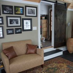 Hang a space-saving slider door using barn-door hardware for a chic industrial look. Barn-door install kit, about $94; hardwareworld.com | Photo: Philip Nolan | thisoldhouse.com