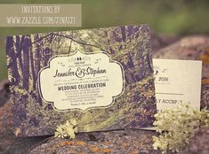 Trees path wedding invitation for rustic woodland or park weddings - creative typography, huge old trees and romantic feel