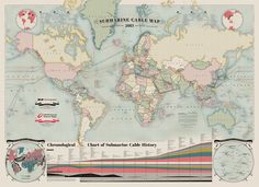 The Submarine Cable Map charts 550,000 miles of subaquatic cabling that drives telecommunications. Wow.