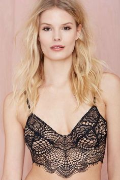 SKIVVIES Bat Your Lashes Lace Bralette - Black/Nude - What's New
