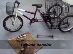 Triciclo caseiro Parte 1# - YouTube Drift Trike Motorized, Tricycle Bike, Cargo Bike, Bicycle, Vehicles, Chopper, Garage, Youtube, Cool Bicycles