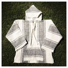 Vintage Mexican Blanket Bone White Striped Woven BEACH HOODIE Pullover - Size Large