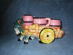 Vintage Victoria Ceramic Japan Donkey Cart Salt Pepper Sugar Creamer