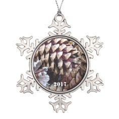 #wood - #Georgia Pine Cones Arrangement Snowflake Pewter Christmas Ornament