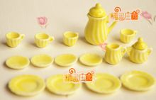 G05-X4318 kinder baby geschenk Spielzeug 1:12 Puppenhaus mini Möbel Miniatur rement keramik tee-set 15 teile/satz gelb(China (Mainland))