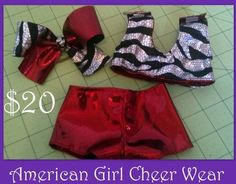 RED and ZEBRA American Girl Cheer Practice Wear on Etsy, $20.00