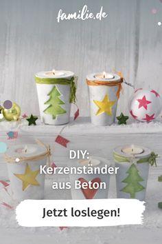 Hobbybastler haben Beton als Material für sich entdeckt. Auf Blogs, in Zeitschriften und Büchern gibt es jede Menge Anleitungen für das Beton gießen. Wir zeigen Ihnen auf den folgenden Seiten die Basics und wie Sie daraus zum Beispiel diesen weihanchtlichen Kerzenständer aus Beton basteln können. Viel Spaß! #weihnachten #diy #kerze #engel #basteln #diy #selbermachen #familienzeit #lebenmitkindern #stern #christmas #winter #beton Easter Crafts, Christmas Crafts, Wood Crafts, Diy Crafts, Christmas Candle Holders, Projects To Try, Candles, Homemade, Creative