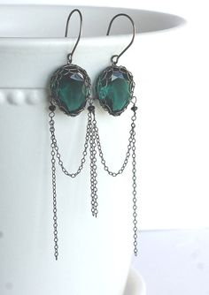 Wire Wrapped Jewelry Emerald Green Vintage Faceted by DacesJewelry, $42.00