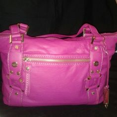 Marc Fisher Shoulder Tote Large fuchsia tote features gold-tone hardware with interior and 2 slip pockets. Marc Fisher Bags Totes
