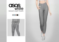 ASOS WHITE Awkward Length Trousers • EA mesh recolour • Category: bottom (women) • Age: teen / young adult / adult / elder • 5 swatches • Note: matching shirt Download: SimFileShare