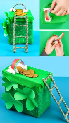 How to Make a Leprechaun Trap Craft Make a lucky leprechaun trap for kids! This St. Patrick's Day craft activity is just too fun! Can you catch a leprechaun? Crafts For Seniors, Crafts For Teens, Crafts To Sell, Saint Patricks Day Art, St Patricks Day Crafts For Kids, Baby Crafts, Toddler Crafts, Toddler Play, Kid Crafts