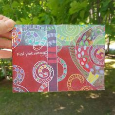 Painted postcard by Linda from CA, made for @ihanna's DIY Postcard Swap spring 2016 #diypostcardswap #doodles