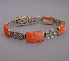 CORAL carved with flowers and marcasite links bracelet,