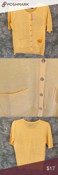 NWT New York & Company cardigan in yellow. Yellow cardigan with jewel buttons, patch pockets, round neck and short/elbow length sleeves New York & Company Sweaters Cardigans