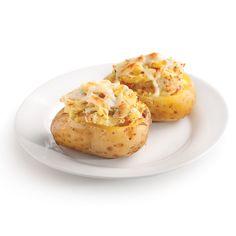 Pommes de terre farcies gratinées - Je Cuisine Fondue Raclette, Cheddar, Bacon, Nutrition, Baked Potato, Creme, Ethnic Recipes, Discovery, Apps