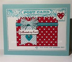 """Stamp and Stretch: """" Follow My Heart """" Project 5 of 6 projects using the SweetHeart Treat Bags and the Post Card stamp set. www.stampandstretch.com"""