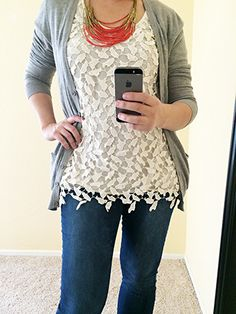 May Stitch Fix Review. Mystree Jane Crochet Overlay Top | KaraLayneAndCo.com