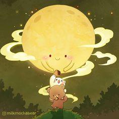 Cute Bear Drawings, Cute Couple Drawings, Cute Couple Cartoon, Kawaii Drawings, Bear Wallpaper, Kawaii Wallpaper, You Are My Moon, Bear Gif, Cute Love Gif