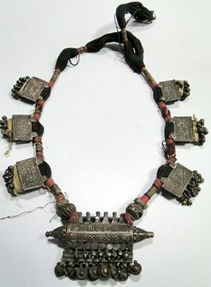 Vintage antique ethnic tribal old silver pendant necklace from Rajasthan India