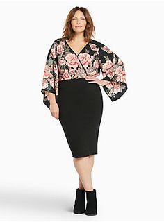 """If you thought that bodysuits were reserved for jazz-ercise, this style will definitely change your mind. The georgette top is gorgeous with a pink rose print. Bell sleeves turn up the volume while the tie surplice back shows off some major skin. The black knit bottom (with a snap button closure) is ideal for layering.<div><br></div><div><b>Model is 5'9.5"""", size 1<br></b><div><ul><li style=""""LIST-STYLE-POSITION: outside !important; LIST-STYLE-TYPE: disc !importan..."""
