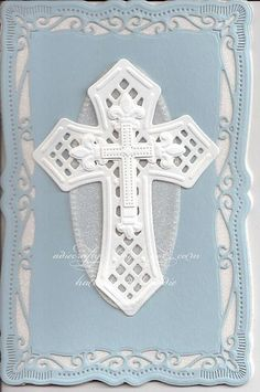 Christening card made with Spellbinders Cross dies Confirmation Cards, Baptism Cards, Christening Card, First Communion Cards, Christian Crafts, Spellbinders Cards, Parchment Craft, Pretty Cards, Sympathy Cards