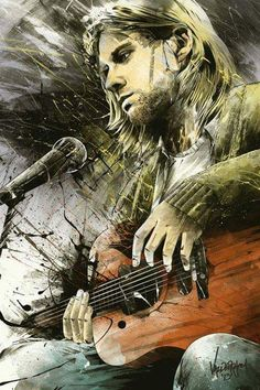 Painting of Kurt Cobain - Rock art Art Nirvana, Nirvana Lyrics, Kurt Tattoo, Kurt Cobain Art, Kurt Cobain Painting, Grunge, Dave Grohl, Rock Posters, Band Posters