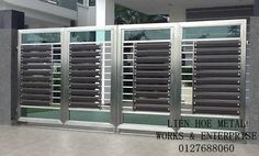 S184 Grill Gate Design, House Main Gates Design, Main Entrance Door Design, Steel Gate Design, Front Gate Design, Door Gate Design, Entrance Doors, Stainless Steel Stair Railing, Stainless Steel Gate