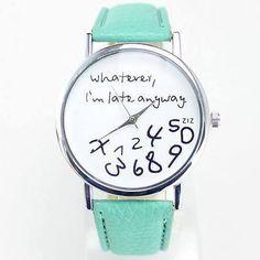 Reloj de Pulsera lo que I 'm Late Anyway Casual para Mujer Chica Reloj con Banda verde in Joyería y relojes, Relojes, piezas y accesorios, Relojes pulsera   eBay