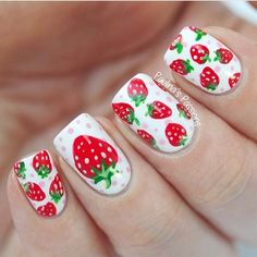 Cheerful nails, Delicious nails, Drawings on nails, Fruit nails, Nails with fruits, Nails with stickers, positive nails, Red and white nails
