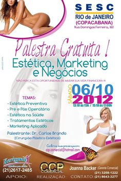 Panfleto 10x15cm e Banner 80x120cm    Tema: Palestra Gratuita para Esteticistas no SESC - Copacabana.