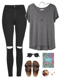 """""""school"""" by btravis5252 ❤ liked on Polyvore featuring Topshop, Organic by John Patrick, Birkenstock, Retrò, Kendra Scott, Lilly Pulitzer and Alex and Ani"""
