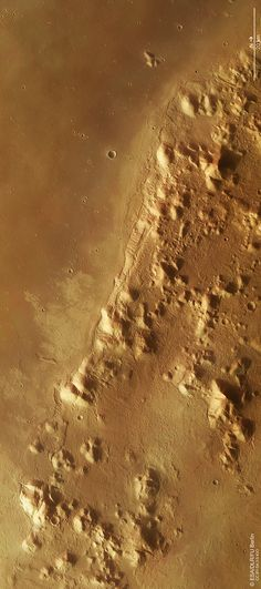 Phlegra Montes southern tip. Image credit: ESA/DLR/FU Berlin, CC BY-SA 3.0 IGO.  Colour image of the southernmost portion of Phlegra Montes on Mars, a complex system of isolated hills, ridges and small basins that spans over 1400 km from the Elysium volcanic region at about 30ºN and deep into the northern lowlands at about 50°N. The image was acquired by the High Resolution Stereo Camera on ESA's Mars Express on 8 October 2014 during orbit 13670 and is centered on 31ºN / 160ºE.