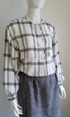 Vintage 80's LOUIS FERAUD Grey and White Draped Silk Full Sleeve Button Down Blouse Grey And White, Button Downs, Bodice, Ruffle Blouse, Plaid, Silk, Sleeves, How To Wear, Clothes