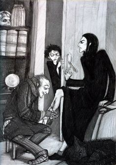 Harry Potter and the Philosopher´s Stone chapter eleven. Filch is handing Snape bandages. Harry as a accindental witness. Snape Harry, Draco And Hermione, Severus Snape, Harry Potter Books, Harry Potter Fan Art, Harry Potter Universal, Snape And Lily, Geek Culture, Hogwarts