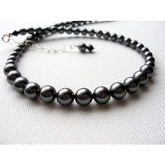 Czech Dark Grey Pearl Necklace and Earring Set with Bracelet