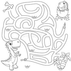 Illustration about Help dinosaur find path to nest. Maze game for kids. Black and white vector illustration for coloring book. Illustration of animal, dragon, maze - 109834872 Dinosaur Activities, Classroom Activities, Preschool Activities, Logic Games For Kids, Mazes For Kids Printable, Critical Thinking Activities, Dinosaur Coloring, Map Skills, My Father's World