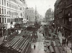 1915 U-Bahn Bau in der Friedrichstrasse