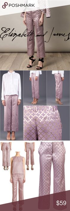 """Elizabeth & James Jacquard Carson Pants Trousers 4 Elizabeth and james orchid polished tile jacquard carson trousers.  Flat front, belt loops, quarter top pockets, wide cuff welt pockets at back.  Apprx. 10"""" rise, 27"""" inseam, 19"""" leg opening. Zip and bar-and-hook closure. Polyester/acetate. Size 4 New with tag, retail $395.00 Elizabeth and James Pants Ankle & Cropped"""
