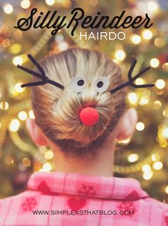 Silly Reindeer Christmas Hairdo Tutorial via www.simpleasthatblog.com #christmas #reindeer #hairdo