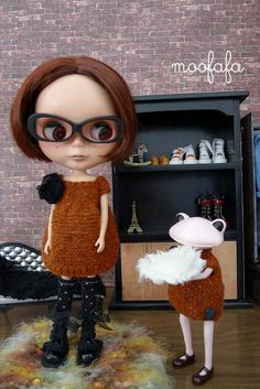 Short Sleeves Sweater Dress  Brick   Blythe knitting by moofafa