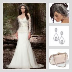 The regal Middleton earrings, Jackie clutch, Victoria I french veil with Jenny Lee bridal gown. Save 10% at adorn.com using promo code: pinterest10 ... bridal accessories, diamond jewelry, diamond earrings, swarovski crystal clutch