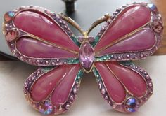 Vintage Pink Butterfly Brooch by adeleas on Etsy, $16.00