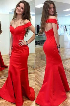 Cheap Backless Red Prom Dresses Off the Shoulder Mermaid Prom Dress,Open Back Simple Evening Dresses,Sexy Long Evening Prom Gowns