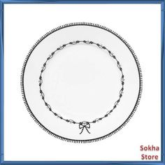 "Mimex Miss Blackbirdy 9"" Luncheon Plate, Chain Pattern, White, $17.99 at sunsokha2012 on ebay, 8/27/15"