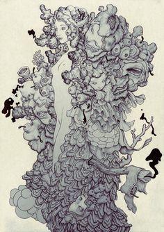 A focus on artist James Jean's sketchbooks, pen & ink drawings, street art & B&W prints images James Jeans, Inspiration Art, Art Inspo, Drawing Sketches, Art Drawings, Park Art, Arte Horror, Linkin Park, Surreal Art