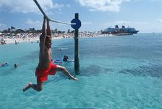 Pelican Plunge provides kids with hours of splashing fun in the sun and is just swimming distance from the shore at Disney Cruise Line's Castaway Cay