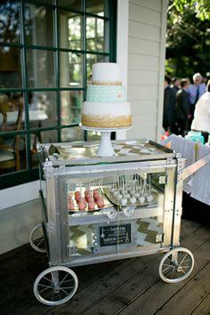 Cake cart from California Vintage Rentals via TahoeUnveiled.com
