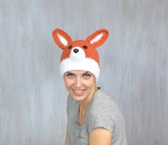 Red Fox Hat Beanie  Beautiful hat for unisex adults. Perfect for animal lovers.  Circumference inside (without stretching) is 22.5 (57 cm) Hat height (without ears): 9 (22.5 cm)  Unique and fantastic!  If you search fox hat for kid please check here:  https://www.etsy.com/listing/276257510/child-hat-beanie-hat-red-fox-hat-spring?ref=shop_home_active_9  Made in a smoke free house.  Ready to ship.   Please check dimensions carefully. Due to lighting conditions and monitor settings, colors may…