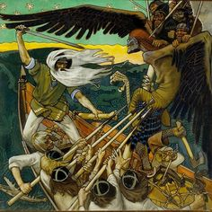 The Defense of the Sampo is an 1896 Romantic nationalist painting by Finnish painter Akseli Gallen-Kallela. The painting illustrates a passage from the Kalevala the Finnish national epic compiled by Elias Lönnrot in the century. History Of Finland, Portal, Fox Spirit, Nordic Art, Dream Book, Art Archive, Tempera, Golden Age, Witchcraft